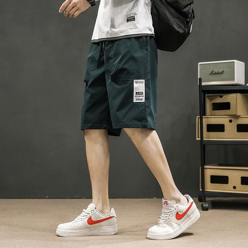 M-4XL夏季日系潮牌工作短褲 韓版學院風薄款直筒寬鬆五分褲 學生運動工裝褲 大尺碼海灘褲 青年休閒短褲 褲子 男生衣著