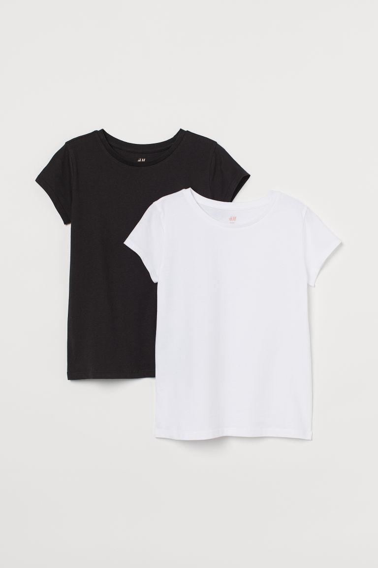 H & M - 2件入棉質T恤 - 白色