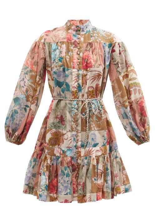 Zimmermann - Cassia Patchwork-floral Cotton Mini Dress - Womens - Multi