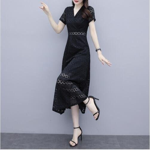 洋裝連身裙中大尺碼M-4XL蕾絲氣質鏤空長款修身顯瘦v領收腰a字長裙NB13A-8997.