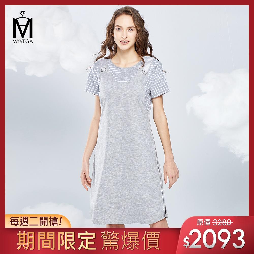 官網一週驚爆價【麥雪爾】MA假兩件吊帶造型短洋裝-灰