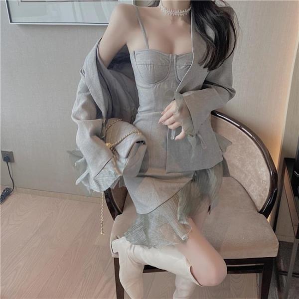 套裝 灰色西裝外套女 春夏新款 韓版 收腰 顯瘦小個子 長袖 V領氣質 西服上衣