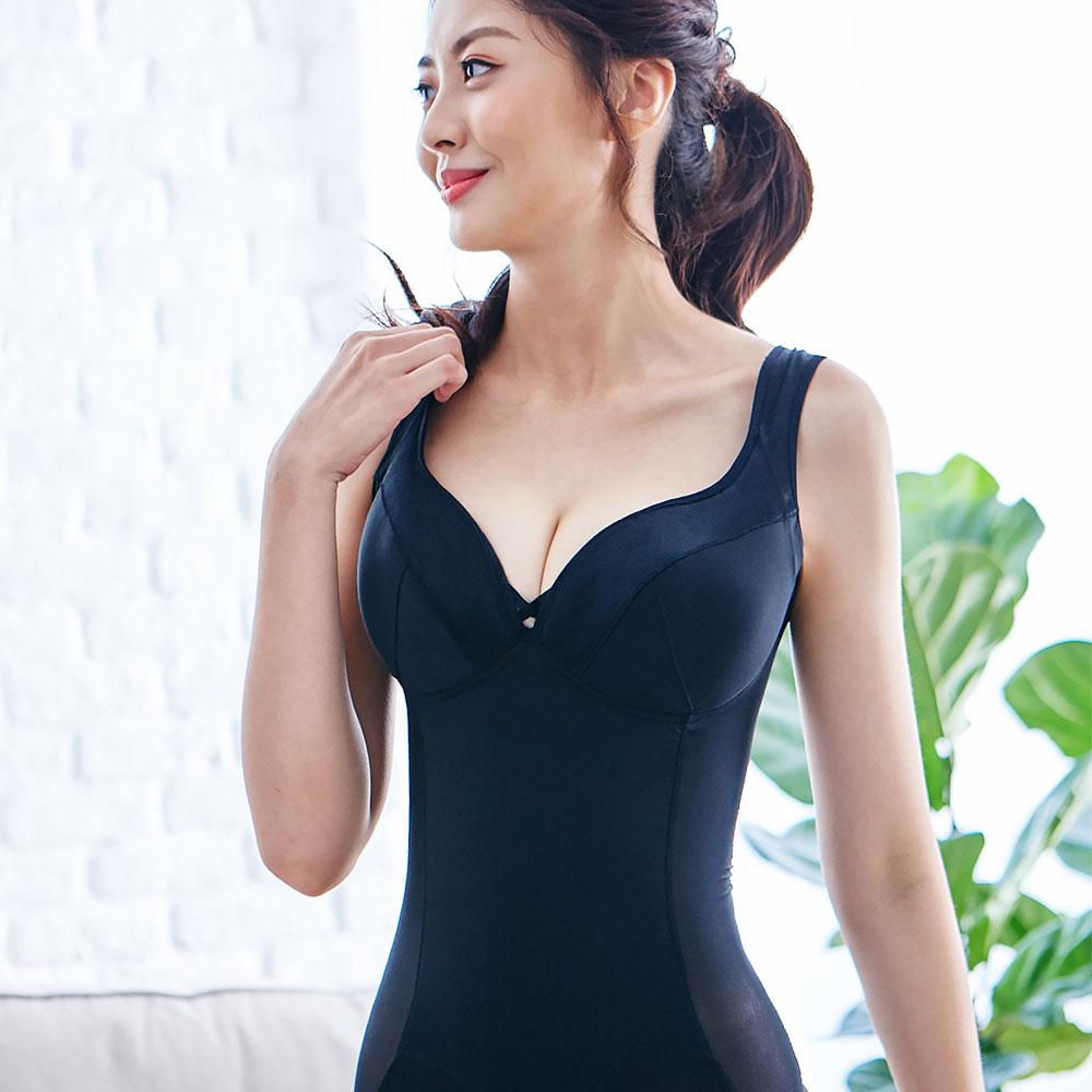 小姿大罩杯-寬肩帶無鋼圈塑身衣 M~3L (EFG杯) 黑