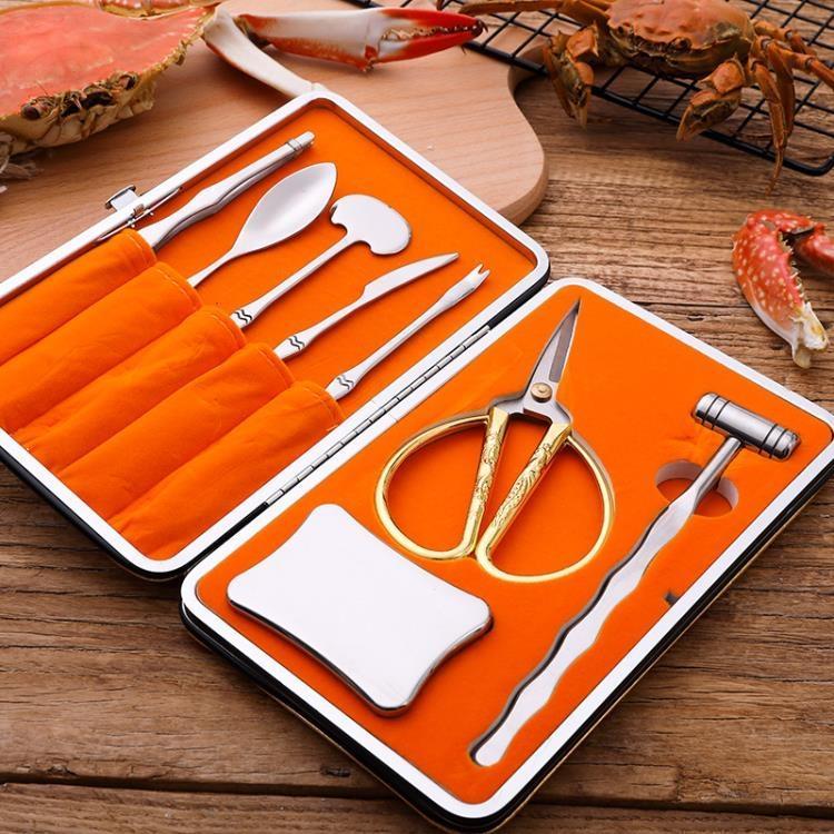 萬事順 蟹八件 吃蟹工具 蟹八件不銹鋼 吃食蟹工具 蟹鉗夾【免運】