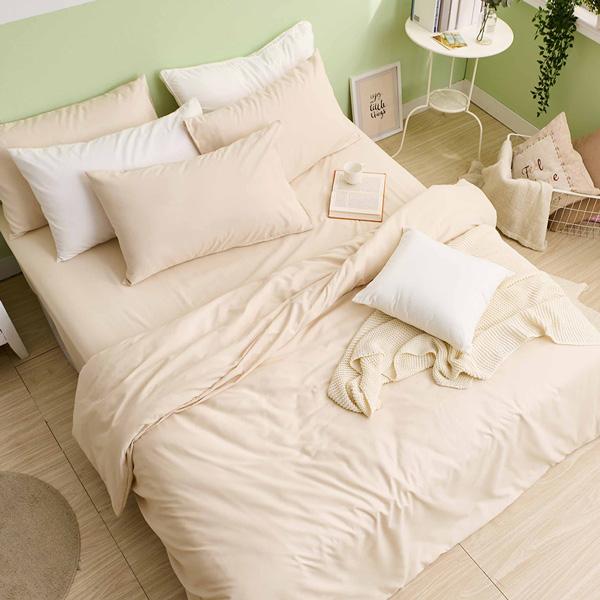 床包被套組(鋪棉兩用被套)-單人 / 舒柔棉三件式 / 奶茶色 台灣製