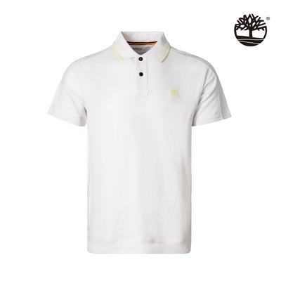 Timberland 男款白色有機棉吸濕排汗短袖POLO衫|A2E1Z