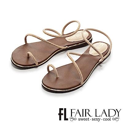 FAIR LADY 低調奢華水鑽繞帶穿趾涼鞋 美金