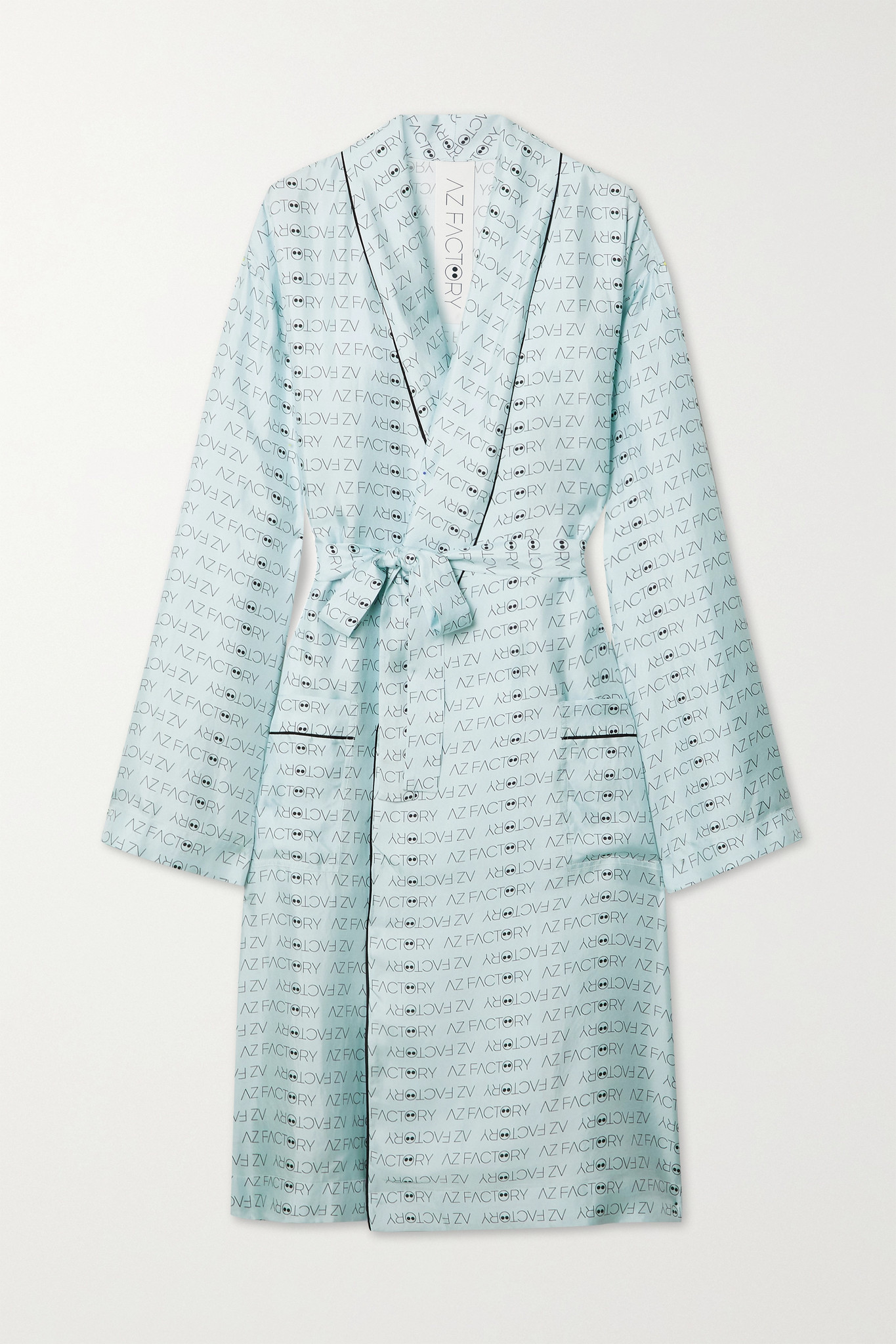 AZ FACTORY - Pijama Look But Don't Touch Silk-twill Robe - Blue - M/L