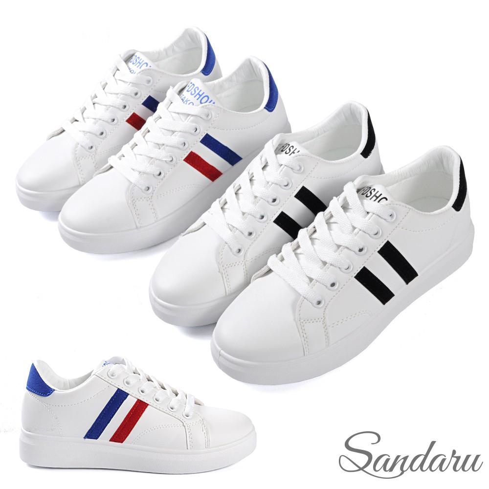 小白鞋 經典雙槓撞色綁帶休閒鞋