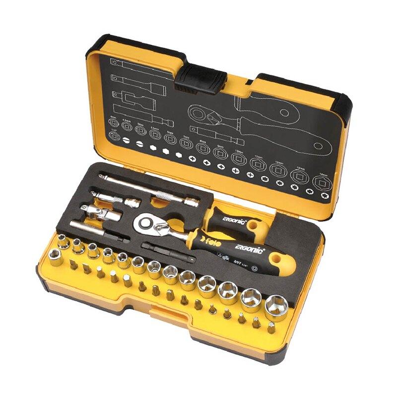 【FELO】超軟柄棘輪板手起子套筒組36件組R-GOXL