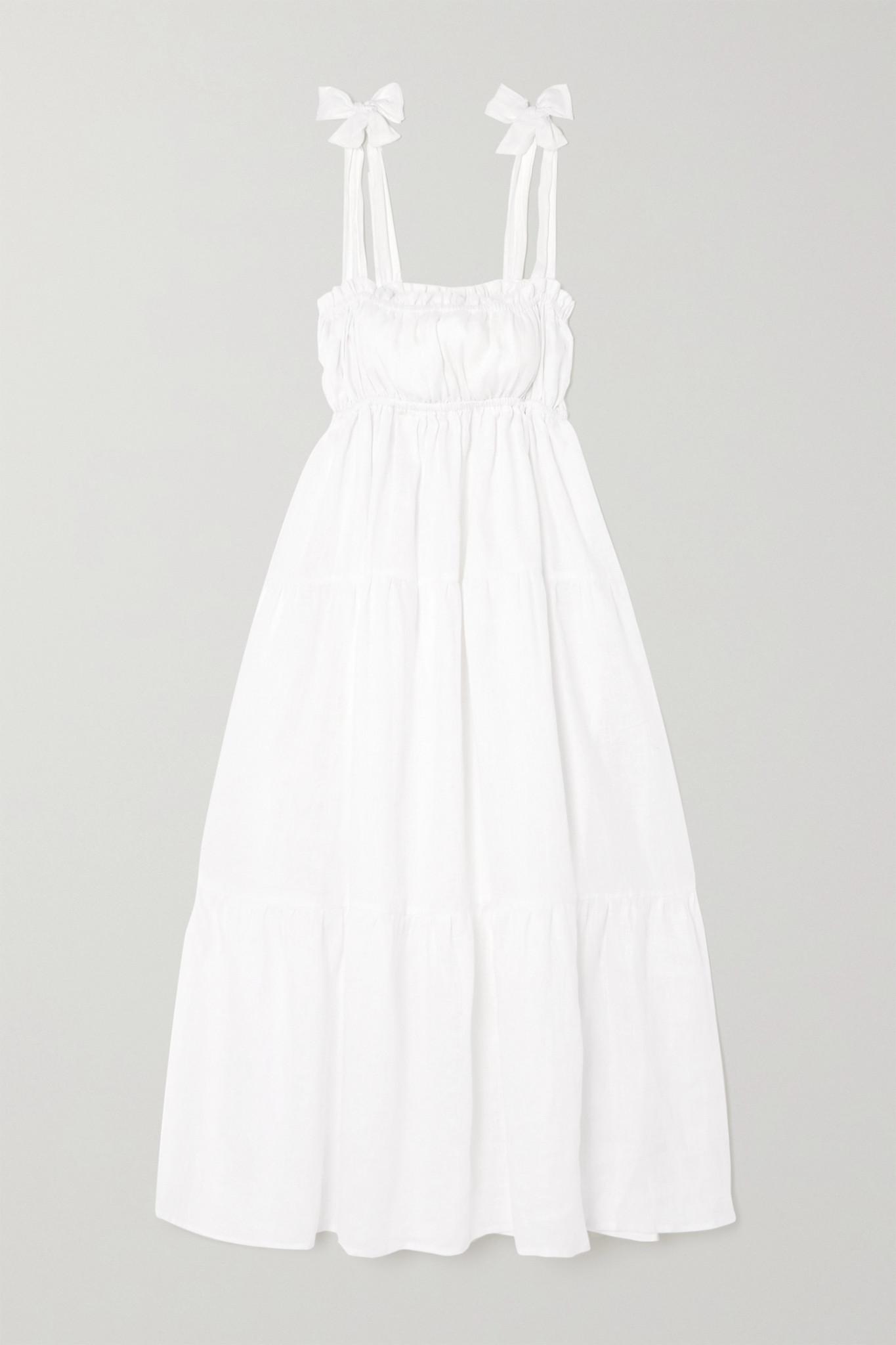 FAITHFULL THE BRAND - + Net Sustain Bellamy Tie-detailed Tiered Linen Midi Dress - White - small