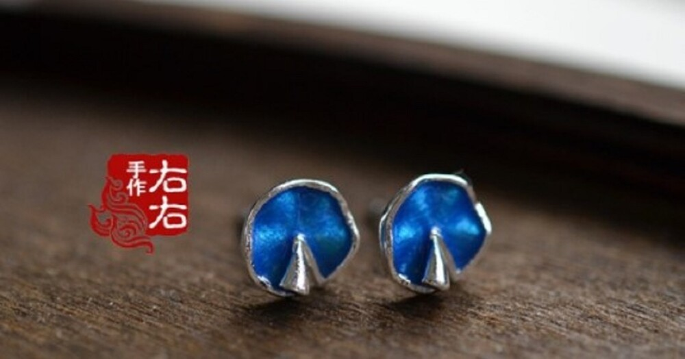 925純銀荷葉造型耳環