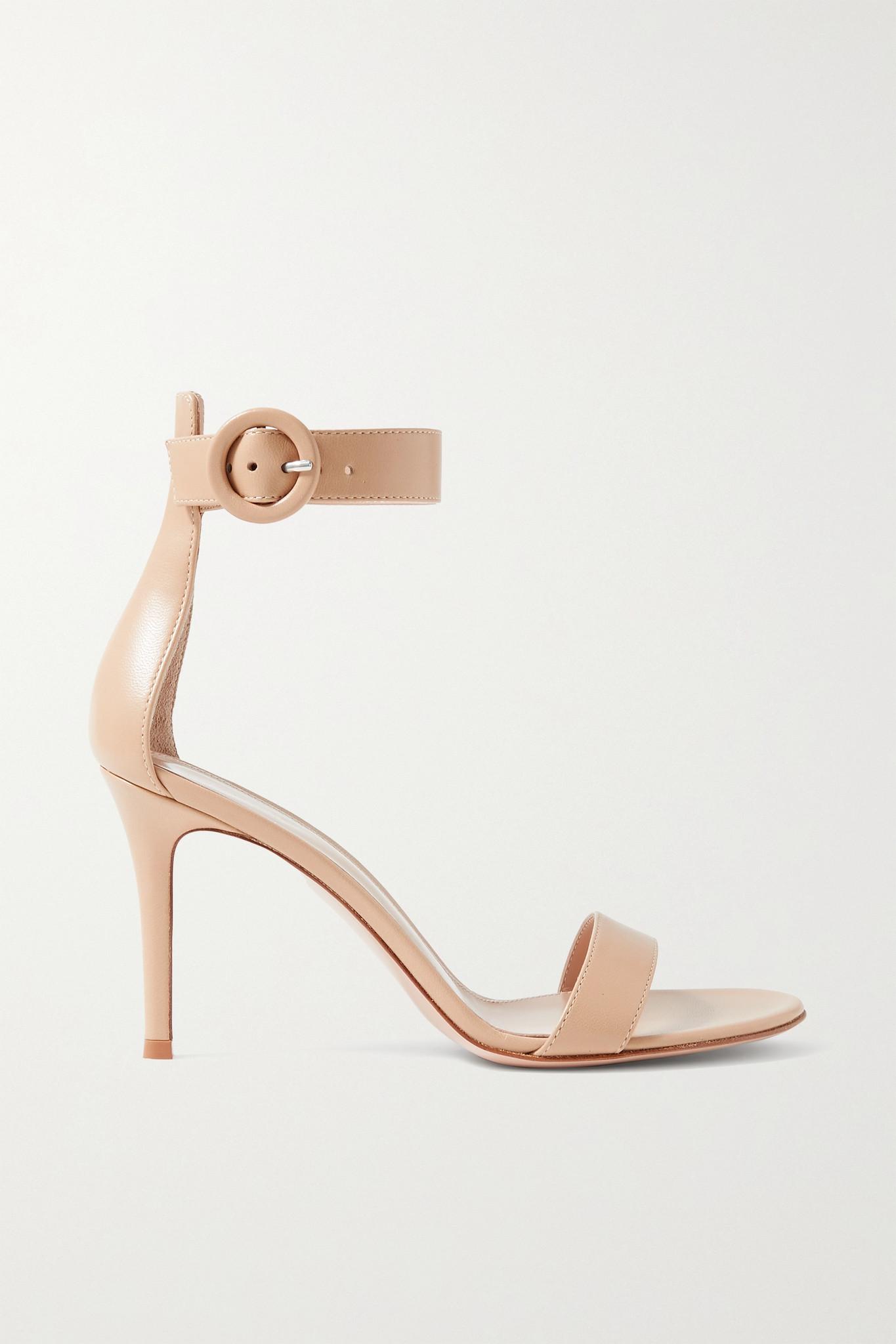 GIANVITO ROSSI - Portofino 85 Leather Sandals - Neutrals - 39.5