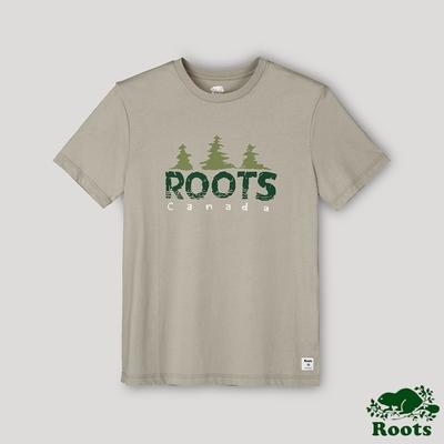 Roots男裝-戶外野營系列 加拿大人森林戳章短袖T恤-卡其色