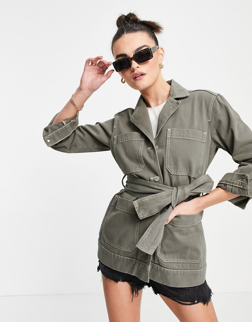 Whistles belted safari jacket in green