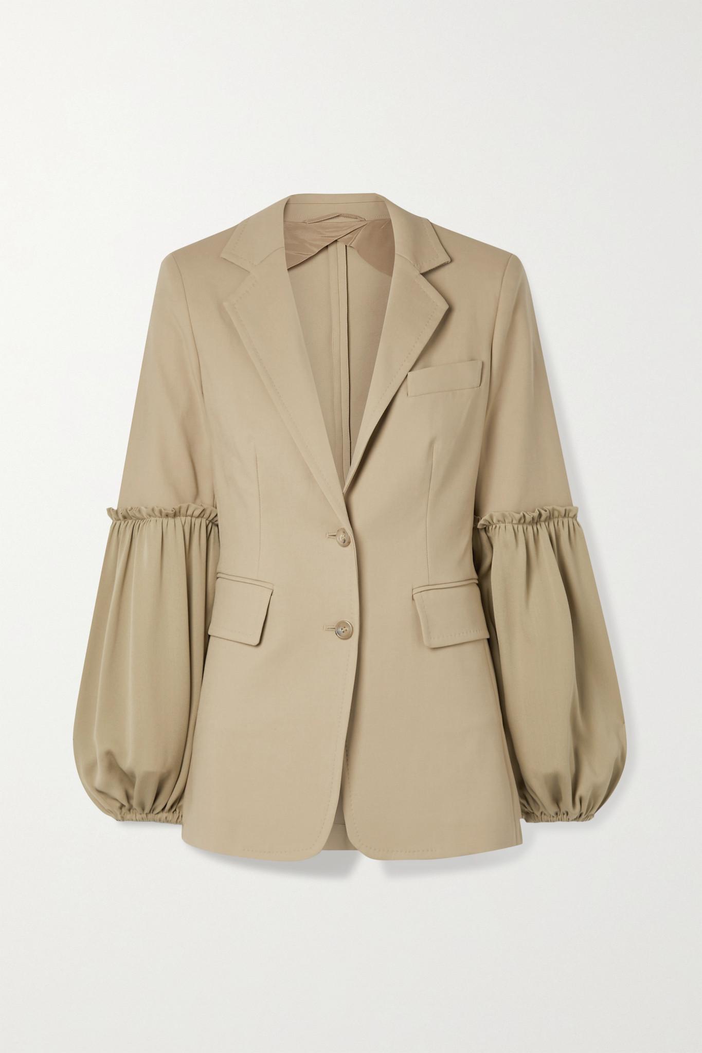 MAX MARA - Pasta Stretch-cotton And Silk Crepe De Chine Blazer - Neutrals - UK8
