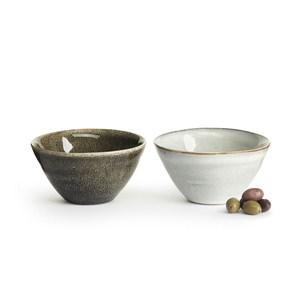 Sagaform Nature 炻釉彩小餐碗-2入 淺灰與深灰