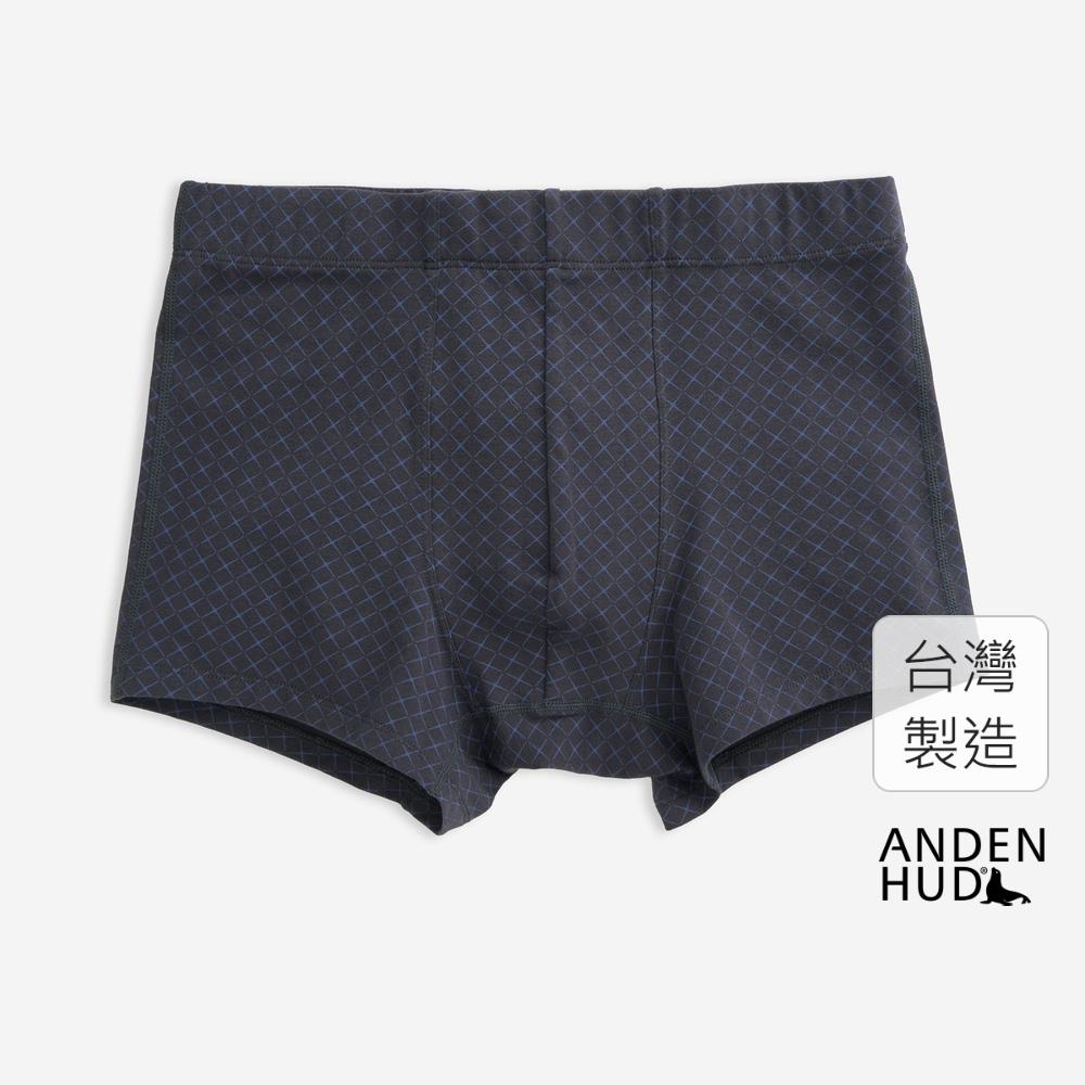 【Anden Hud】(男款)現代簡約.內包緊帶四角內褲(黑藍-輕奢加成) 台灣製