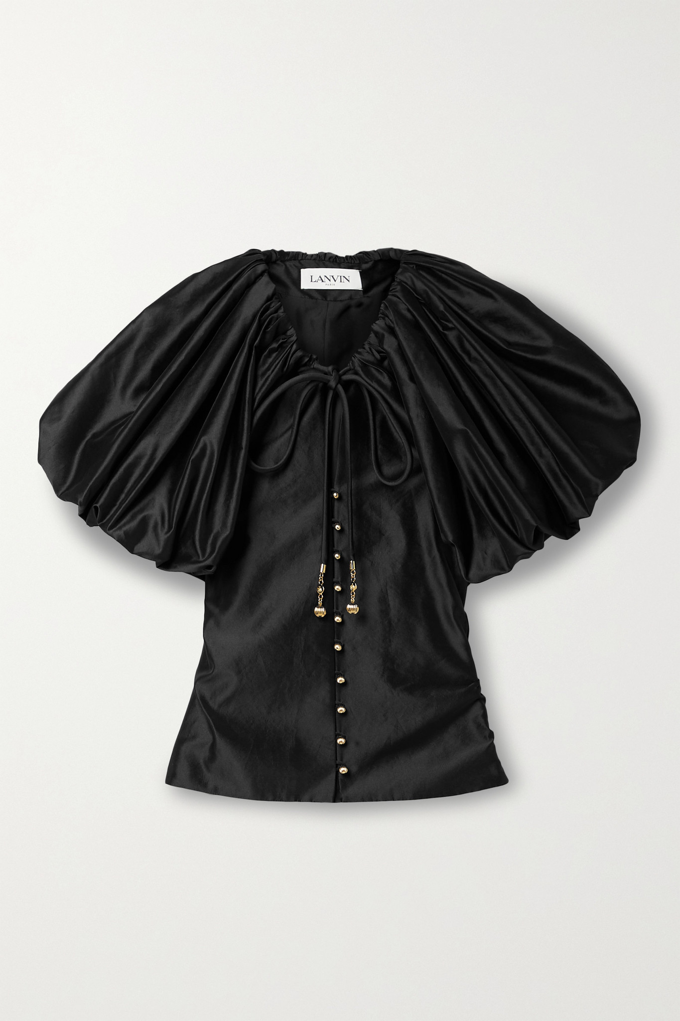 LANVIN - Gathered Taffeta Blouse - Black - FR40