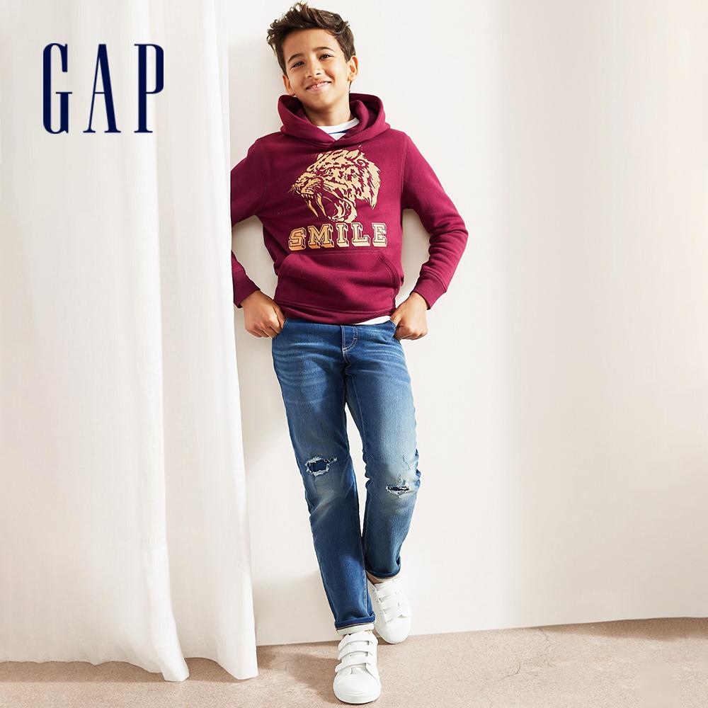 Gap 男童 復古破洞設計鬆緊牛仔褲 499499-藍色