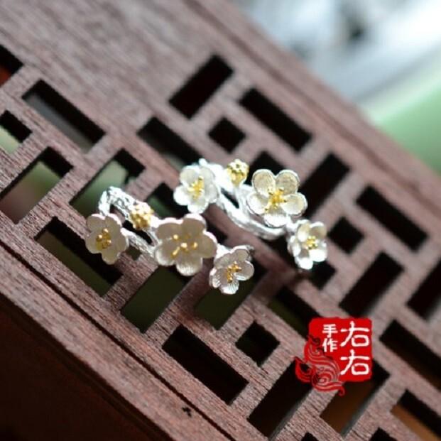 925純銀耳釘花卉梅花