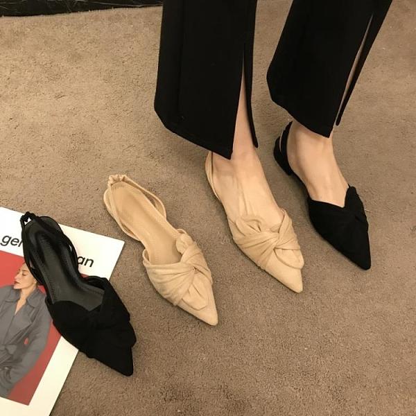 店主推薦~尖頭淺口粗跟涼鞋女溫柔氣質絨面仙女包頭後空中跟單鞋 格蘭小鋪