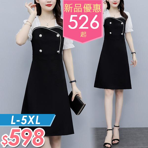 連身裙 雪紡拼接假两件連身裙 L-5XL  棉花糖女孩 【NW09143】
