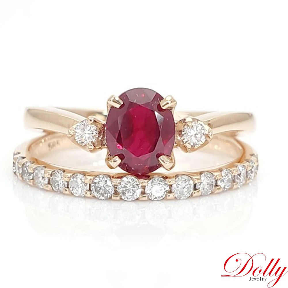 Dolly 緬甸 紅寶石 14K玫瑰金鑽石套戒組(023)