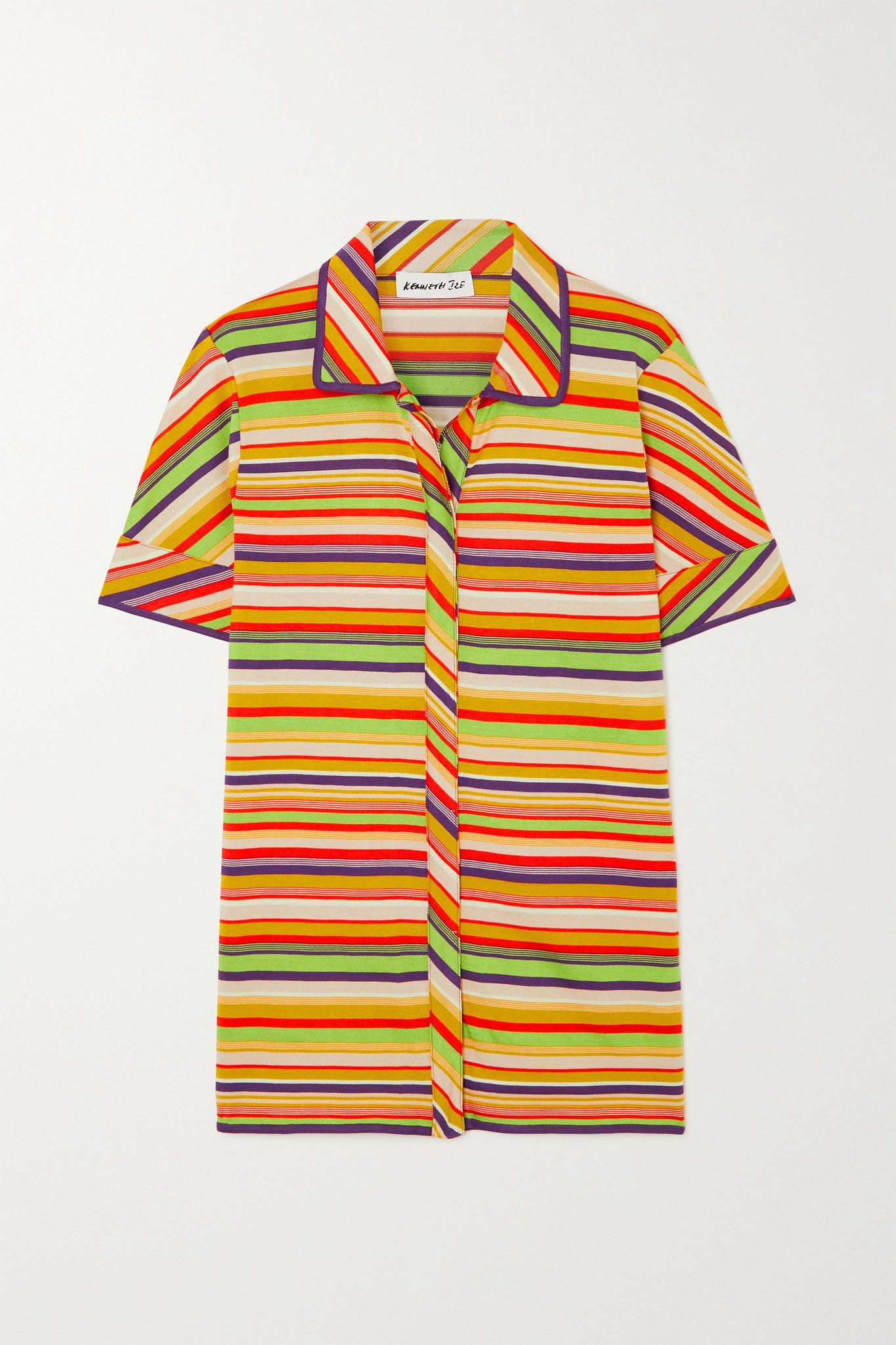 KENNETH IZE - Striped Silk And Cotton-blend Shirt - Orange - IT40