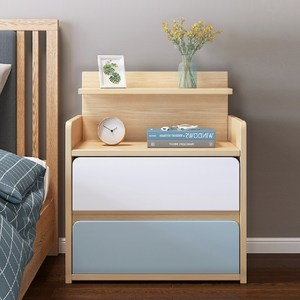 【慢慢家居】北歐田園橡木大容量雙抽屜收納床頭櫃WB床頭櫃