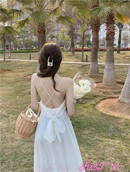吊帶洋裝白色露背蝴蝶結長裙子女裝2021夏季新款吊帶裙海邊度假氣質連身裙 JUST M