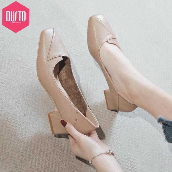 單鞋女新款春季方頭粗跟中跟女鞋百搭職業工作高跟鞋 格蘭小鋪