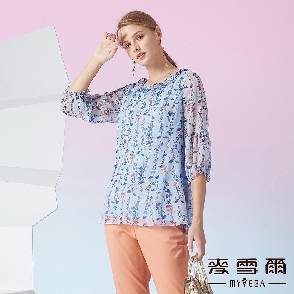 【麥雪爾】韓風花系傘狀雪紡上衣-水藍
