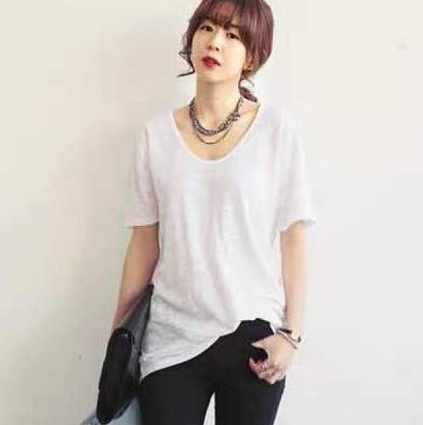上衣 短t韓版打底衫白色上衣S-2XL竹節棉圓領短袖寬松簡約T305.6740 胖丫
