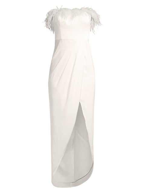 Feather Trim Strapless High-Low Gown