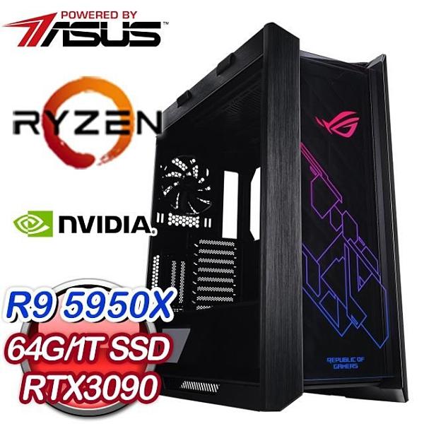 【南紡購物中心】華碩系列【最強王者A】AMD R9 5950X十六核 RTX3090 電競水冷電腦(64G/1T SSD)
