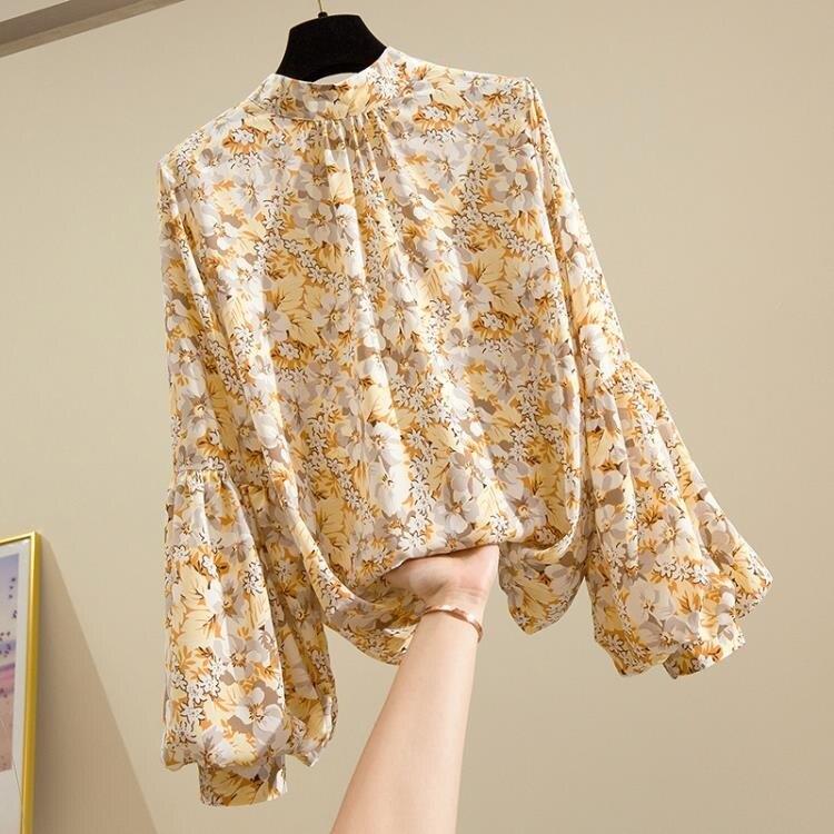 新品上市 韓版百搭氣質雪紡衫寬鬆立領小碎花燈籠袖上衣洋氣襯衫女式春夏