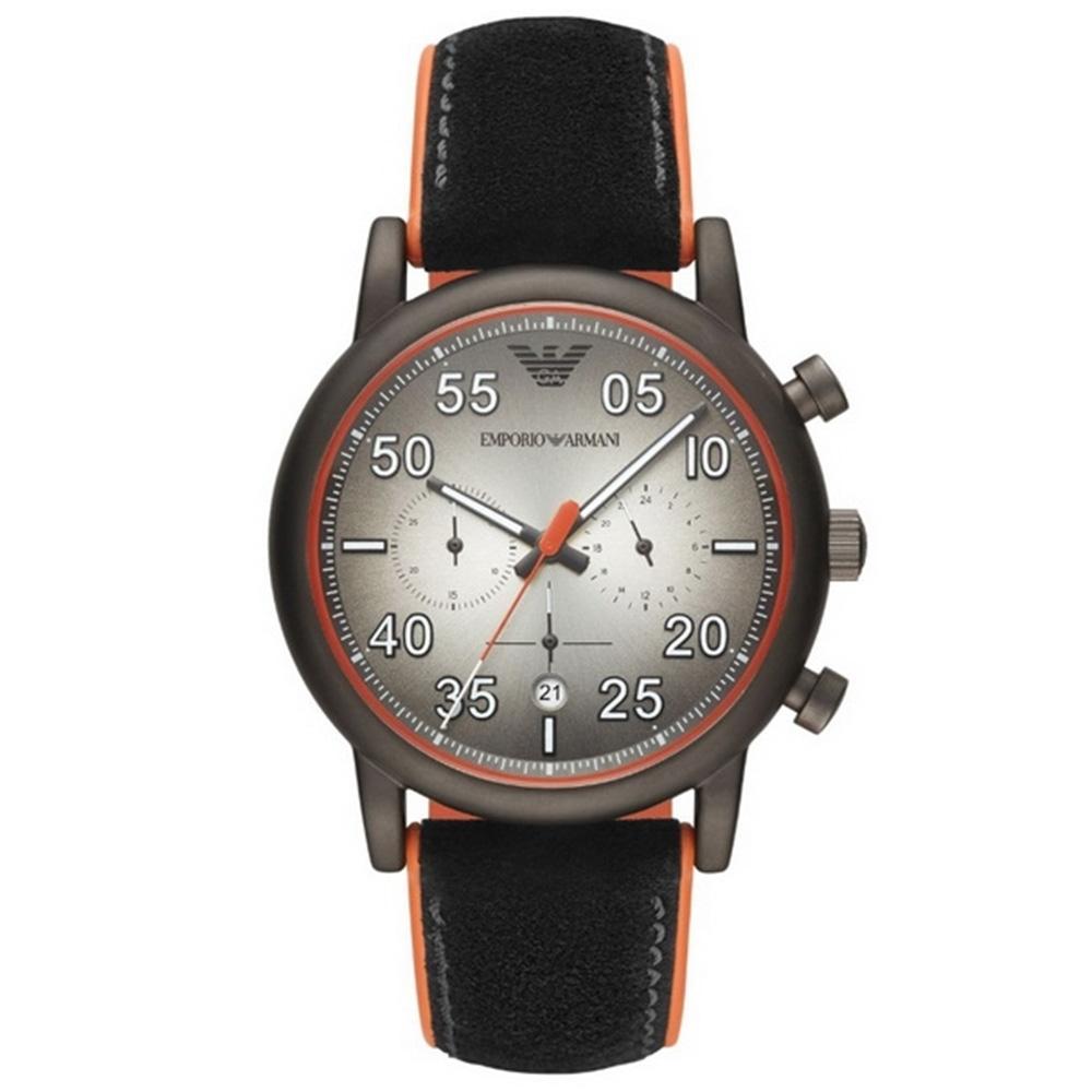 【Emporio Armani】亞曼尼 AR11174 義式品味 雅痞風格三眼計時腕錶 麂皮 鐵灰 43mm