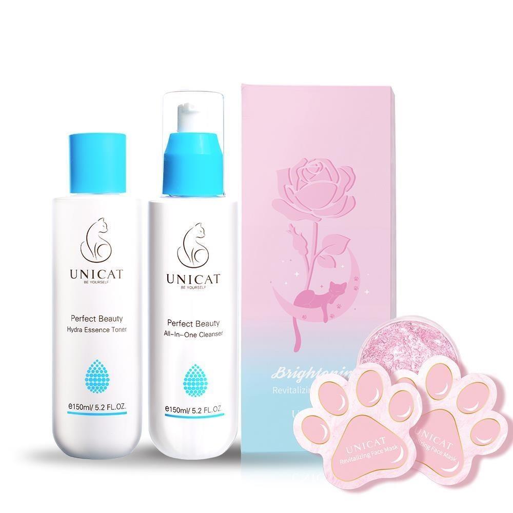 肌膚專科 睡前清潔保濕三件組【UNICAT變臉貓】