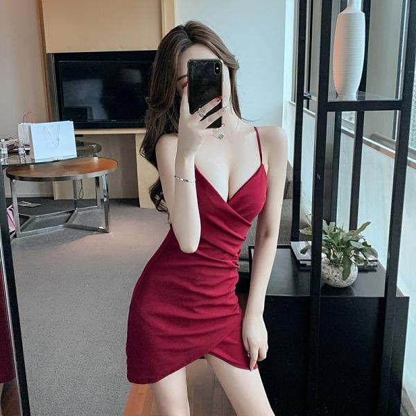 吊帶洋裝 性感女裝低胸v領吊帶連身裙夏季新款潮露背名媛氣質修身包臀裙子 小天使