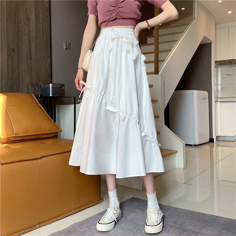 韓版設計感不規則抽繩蝴蝶結中長款高腰百搭半身裙 小宅女
