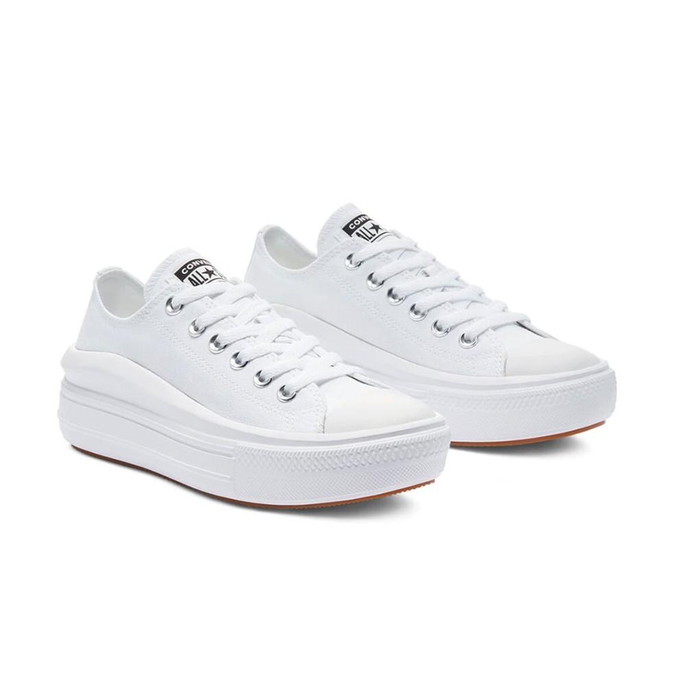 CONVERSE-女款低筒厚底 帆布鞋-570257C-白色 All Star Move 厚底 增高