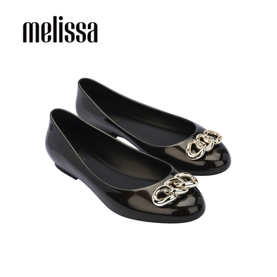 Melissa DOLL光澤鍊條裝飾娃娃鞋-黑