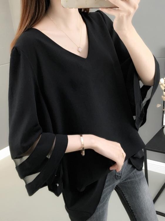 新品上市 鏤空歐根紗白色雪紡衫女2021年夏季新款韓版喇叭袖寬鬆大碼上衣潮