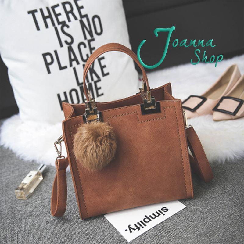 小資辦公質感新款磨砂毛絨球斜背包women bags2-Joanna Shop