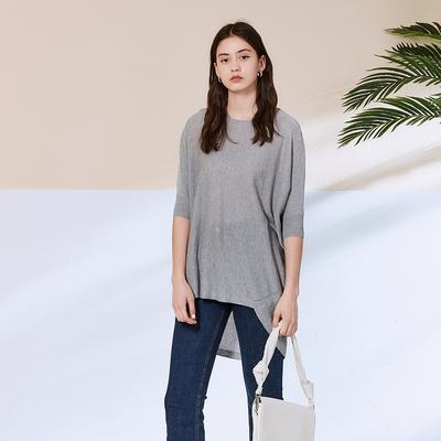 ICHE 衣哲 極簡主義前短後長七分袖造型上衣(2色)-高級灰