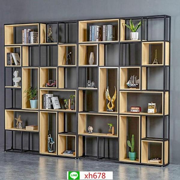 美式置物架辦公室隔斷展示架落地多層書架客廳實木屏風鐵藝收納架【頁面價格是訂金價格】