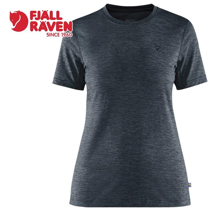 【Fjallraven 小狐狸 瑞典】短袖排汗衣 T-shirt 短袖T恤 女款 暗深藍 (84106-555)