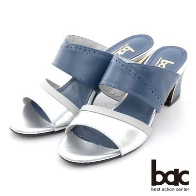 【bac】拼色一字帶金屬跟涼拖鞋-銀