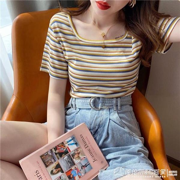 短款t恤女夏 新款ins潮修身法式漏鎖骨方領短袖上衣 條紋 圖拉斯3C百貨